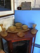 Brown Amber Vintage Art Deco Frosted Glass Dressing Table Set 7 Pieces