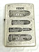 New Rare Zippo Antique Silver Plated Lighter Bullets