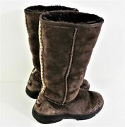 Uggs Tall Brown Suede Braid Detail Winter Boots Women's Size W8