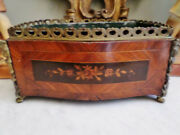 Antique French 19th C Bronze And Marquetry Kingwood Flower Box Floral Design