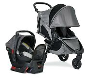 Britax B-free Travel System And B-safe Endeavours Infant Car Seat Asher Grey
