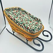 Longaberger Holiday Sleigh 1999 Retired Basket Holly Liners Iron Runner 17 Inch
