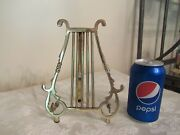Vintage Polished Brass Harp Sheet Music Table Top Stand 8 1/2 Tall India