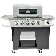 Cuisinart Propane Gas Grill 3 In 1 Stainless Five Burner Side Burner Bbq Outdoor