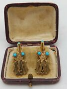 Imperial Russian Faberge Cufflinks Silver Тurquoise Monogram M. Alexandrovich