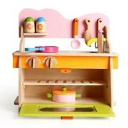 Recommended Kitchen Set Girls Toys Wooden Playhouse Cooking Pretend Children