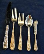 Repousse Kirk Sterling Flatware Set For 4 With 5 Polished Not Polished In Photo
