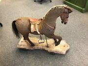 Antique Mohair Pull Horse Toy With Saddle And Reins