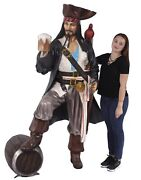 Pirate Statue - Life Size Pirate -pirate Decor-caribbean Pirate Holding Beer 6ft