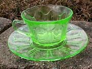 Colonial Knife And Fork Green 1 Cup And Saucer Hocking 1934-1936 3 B53-90-e