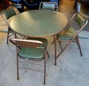 Green And Puter Vintage 1950and039s Samsonite Folding Card Poker Table Set W/ 4 Chairs