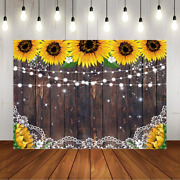 Rustic Sunflower Wooden Backdrop Summer Floral Brown Wood Backdrop Country Lace