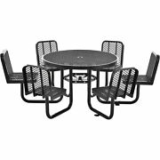 46 Round Expanded Metal Carousel Picnic Table With 6 Seats Black