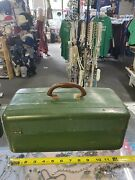 Vintage Antique Metal Tackle Box Loaded With Old Vintage Fishing Lures A