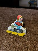 Vintage J.chein And Co. Tin Litho Skier For Wind-up Ski Ride Roller Coaster 1