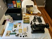 Singer 221-1 Featherweight Sewing Machine With Case And Accessories