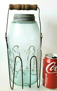 Antique Masons 1858 Blue Glass Canning Jar Cfj 1/2gallon And Wire Basket Carrier