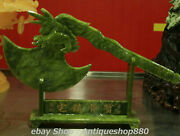 19 Natural Green Jade Carving Dragon Head Ax Hatchet Weaponry Weapon Statue