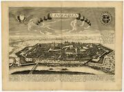 Antique Print Of The City Of Leeuwarden By Jollain C.1670