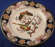 Antique 19thc French Bayeux Porcelain Butterfly Plate Porcelaine France Teller