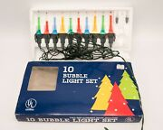 Vintage 1980's String Of 10 Multi Color Mini Bubble Lights W Box And Spares Taiwan