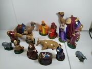 Vintage Holland Mold Ceramic Christmas Nativity Set 15 Pieces 1978 Hand Painted