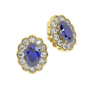 3.50 Cts Claw Set Round Diamond, Oval Blue Sapphire Stud Earring 18k Yellow Gold