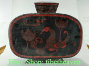 16.8 Rare Old Chinese Lacquerware Dynasty Palace Phoenix Flasks Bottle