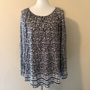 Lucky Brand Womens Multi Color Floral Print Peasant Blouse Plus Size 1x