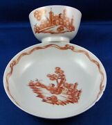 Antique 18thc Chinese Export Porcelain Scenic Cup And Saucer Porzellan Scene China