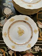 """Herend Chinese Bouquet Yellow 13 Salad Plates 7.5"""", Handmade And Decorated"""