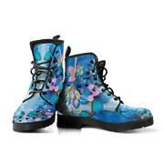 Blue And Pink Musical Note Phoenix Womens Vegan Leather Boots Combat Style Boot