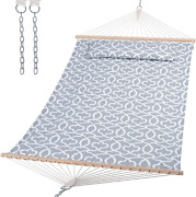 Suncreat Double Quilted Hammock With Hardwood Spreader Bar Extra Large Soft Pil