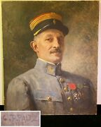 1918 Wwi Ww1 O/c Painting French Officer Military G.b Paltz Pierre-gustave Paltz