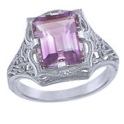 Vintage Style Lab-created Emerald-cut Amethyst Ring In 14k 14ct Solid White Gold