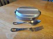 Vintage 1940s Wwii Era Us Military Issue Stainless Steel Mess Kit Leyse 1945 Fands