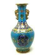 Vase Cloisonne Chinese And Bronze Golden And China And Antique And Quality Remarkable