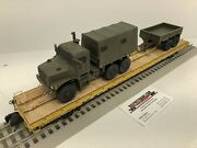 Mth Premier 60' Flat Car With Custom Usmc Mtvr And Mtv Trailer Chained O Scale