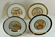 Art Of Chokin Set Of 4 Plates With Display Stands. 6 Vintage 1983 24k Gold Edge