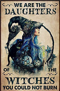 We Are The Daughter Of The Witch Cat Halloween Metal Tin Poster Indoor And Outdoor