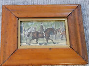Antique English Tiger Maple Frame With Horse Print