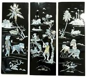 Vintage Asian Mother Of Pearl Inlay Black Lacquer Wood Wall Plaques Set Of 3
