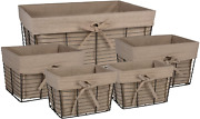 Dii Farmhouse Chicken Wire Storage Baskets With Liner Set Of 5 Vintage Taupe