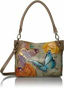 Anuschka Anna Tan Hobo Hand Painted Butterfly Floral Paradise Leather Crossbody