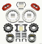 Wilwood Narrow Superlite 4r Rear Kit 12.88in Drilled Red Speedway Eng Floater W/