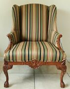 Antique/vtg Solid Mahogany Carved Wood Striped Upholstered Wing Back Arm Chair