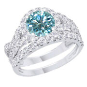 Sterling Silver 4.5 Ct Light Blue Moissanite Engagement Bridal Set Ring Jewelry