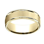 14k Yellow Gold 7mm Comfort-fit Satin Finish High Polished Band Ring Sz-11