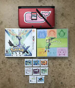 Nintendo 3ds Xl Red Console Lot - Eight Games - 3 Pokemon Games 32gb Card Bundle