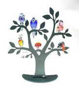 Crystal Birds Of Paradise Set Of 6 And Tree W/ Boxes And Ornament Holders